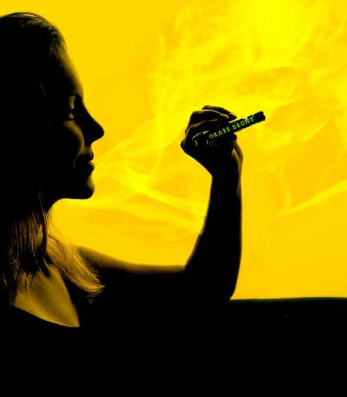 Girl smoking weed glass blunt